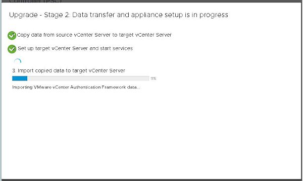 Upgrade vCenter Server Appliance from 6.5 to 6.7 - Import Copied Data
