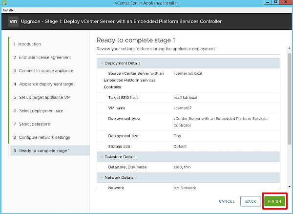 Upgrade vCenter Server Appliance from 6.5 to 6.7 - Ready to Complete Stage 1