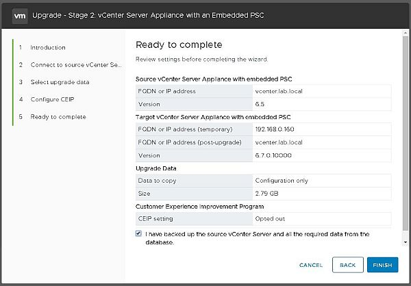 Upgrade vCenter Server Appliance from 6.5 to 6.7 - Ready to Complete