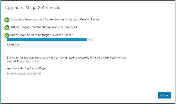 Upgrade vCenter Server Appliance from 6.5 to 6.7 - Stage 2 Complete