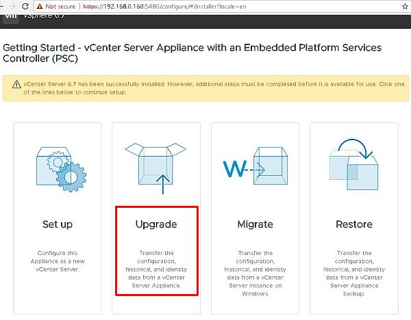 Upgrade vCenter Server Appliance from 6.5 to 6.7 - Upgrade