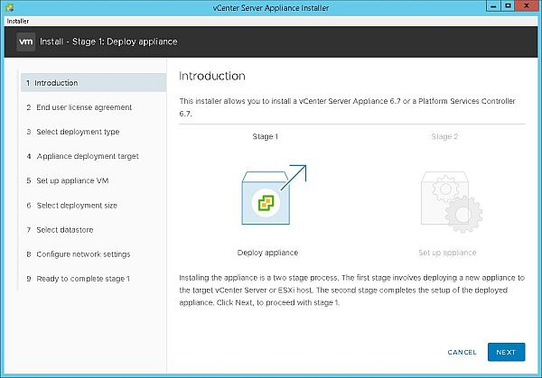 Install VCSA 6.7 - Introduction