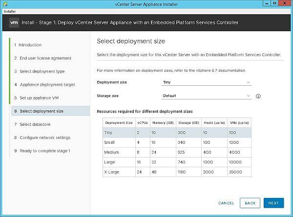 Installer VCSA 6.7 - Sélectionner la taille de déploiement