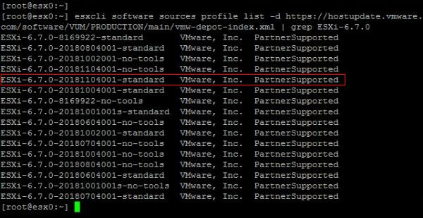 Upgrade ESXi from 6.5 to 6.7 with Command Line - Find Target Release