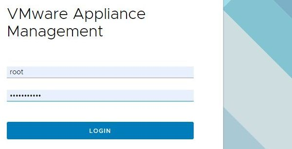 VMware vCenter Server 6.7 Update 3f - Appliance Management Login