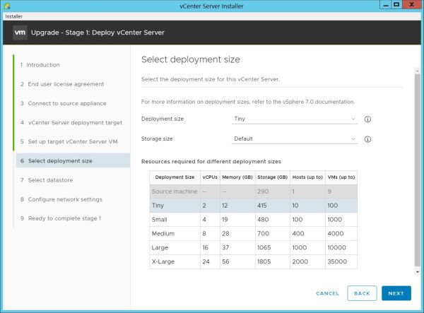 Upgrade vCenter Server Appliance from 6.7 to 7.0 - Select Deployment Size