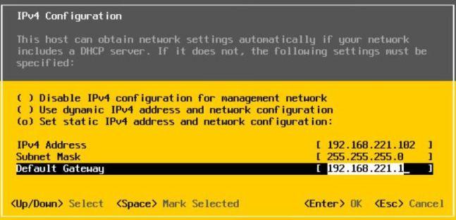 Install vSphere 7.0 - Configure Static IP Address