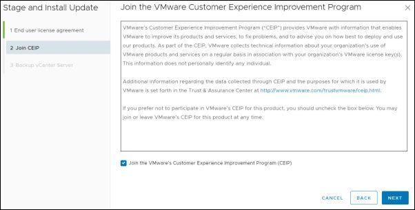 vCenter Server 7.0.0a - CEIP