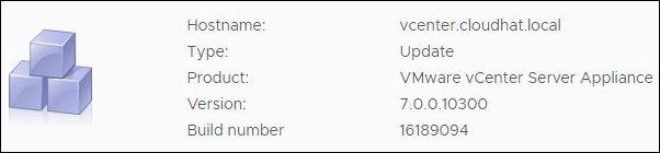 vCenter Server 7.0.0a - build 16189094