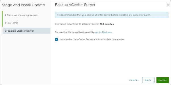 vCenter Server 7.0.0b - Backup
