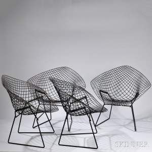 bertoia wire chair original swing nilai 3 search all lots skinner auctioneers four harry diamond chairs steel construction approx ht 31