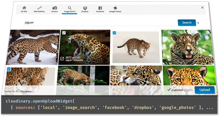 Let users upload images from Facebook, Dropbox and more