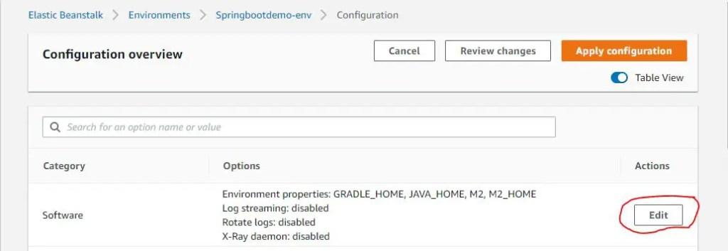 Edit Software Configuration