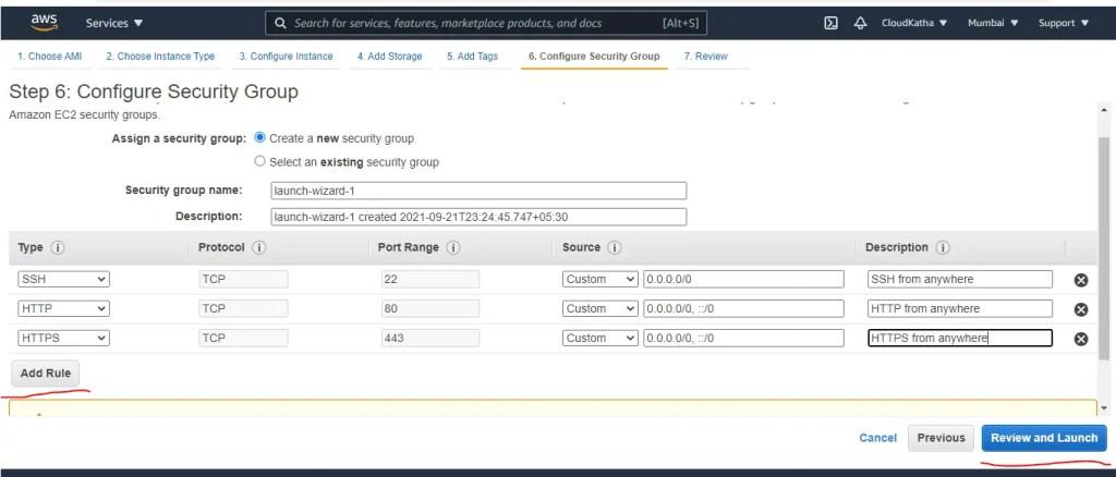 EC2 User Data Script to Install Apache Web Server: Configure Security Group
