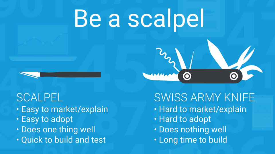 Startups need to be a scalpel, not a Swiss Army Knife