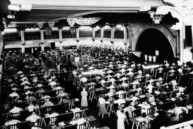 school children sitting for their final exams in the Cloudland Ballroom in 1964