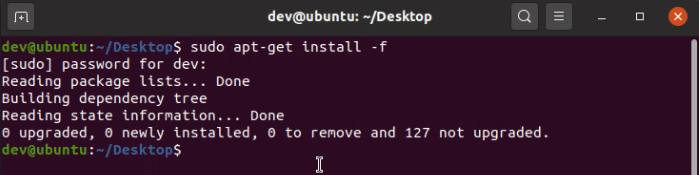 Install Chrome dependencies using apt-get install command