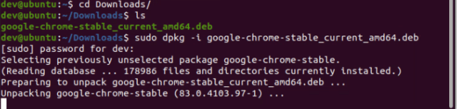 how to install google chrome on ubuntu 20.04 using terminal