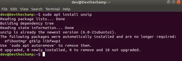 unzip-install-linux