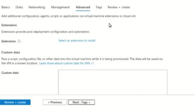 VM advance tab