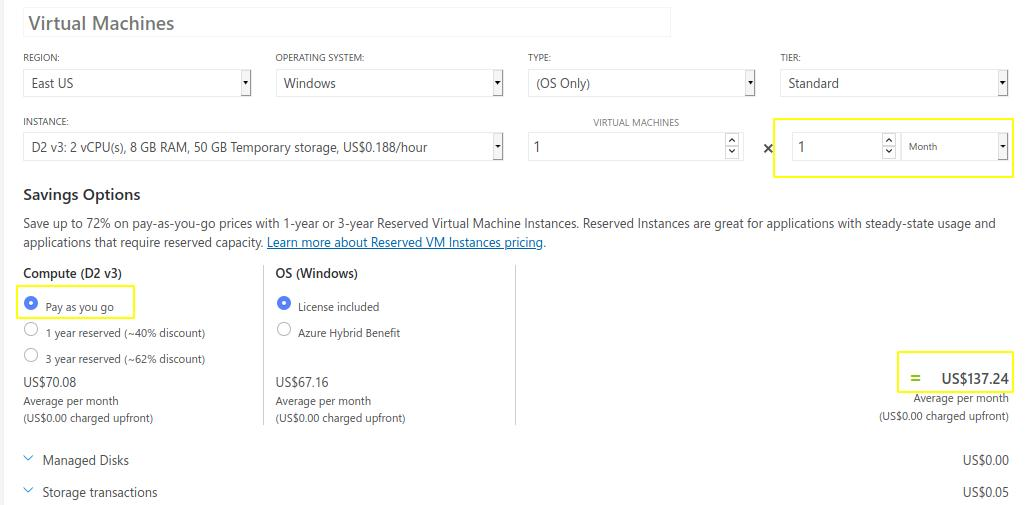 Azure-vm-price-pay-as-you-go-model