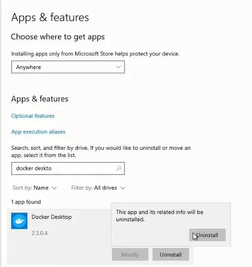 uninstall-docker-desktop-windows10-confirmation
