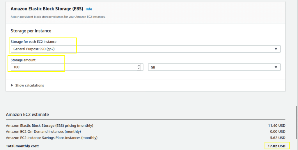 EC2 instance with storage cost saving plan