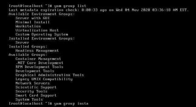 list-groups-to-Install-centos-in-Vmware-workstation