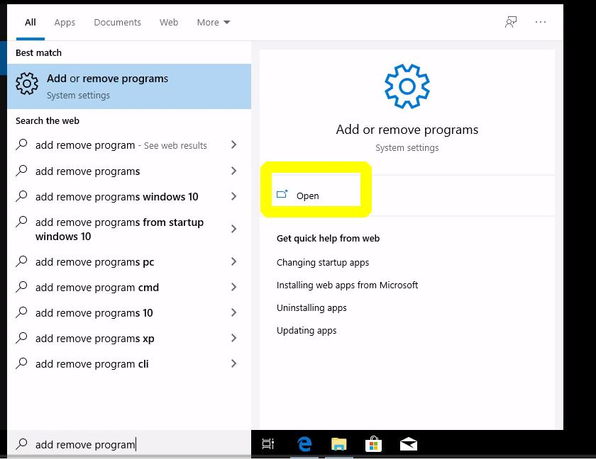 remove-java-windows10