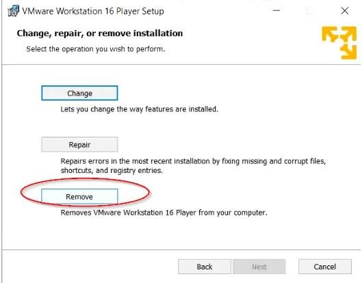 Uninstall-VMware-workstation-player-on-windows-10