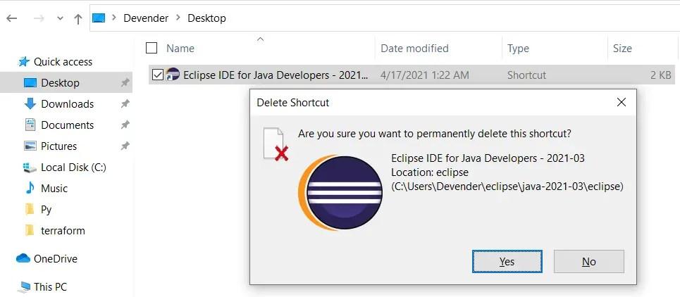 Delete-Eclipse-desktop-shortcut