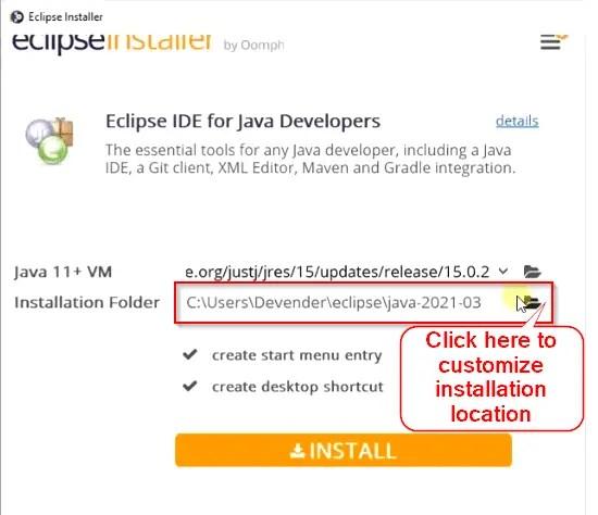 Customize-Eclipse-IDE-installation-location