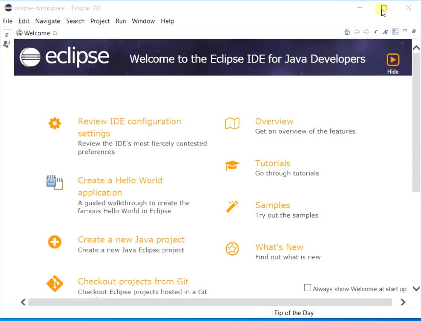 Eclipse-IDE-Welcome-Screen