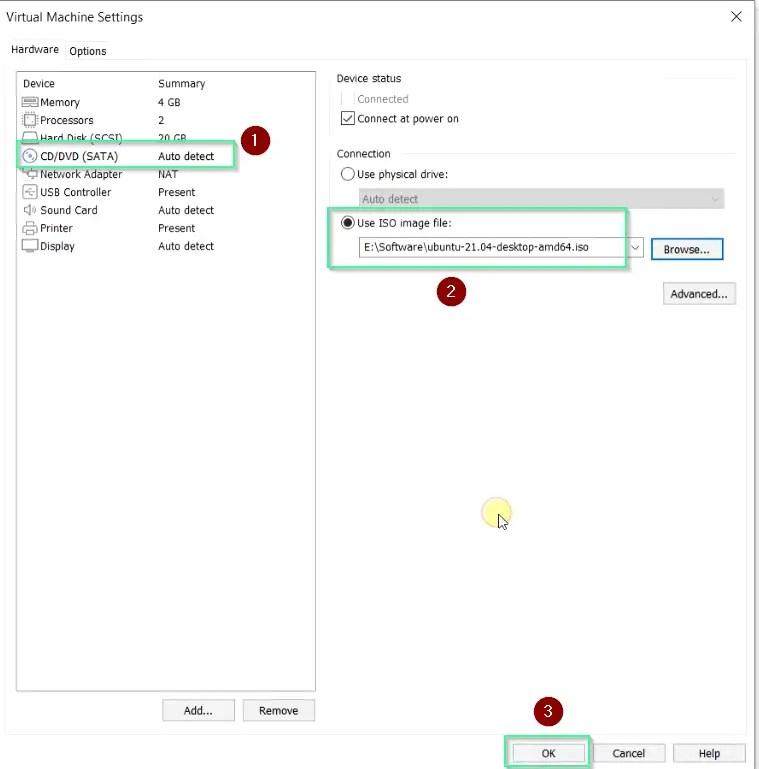 Attach-ubuntu-21.04-ISO-image-for-installation