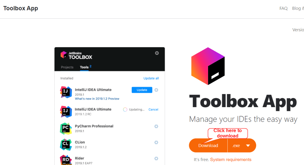 Download JetBrains Toolbox app to install and manage Pycharm