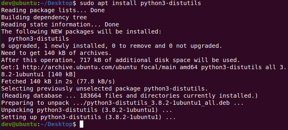install python3-distutils package using apt in ubuntu terminal to fix distutils.utils error