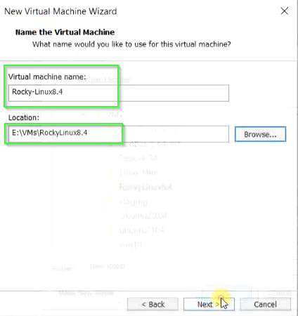 Provide name and installation location for Rocky Linux 8 virtual machine