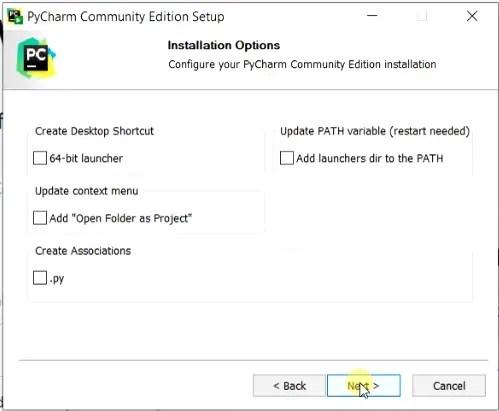 Configure PyCharm community edition installation