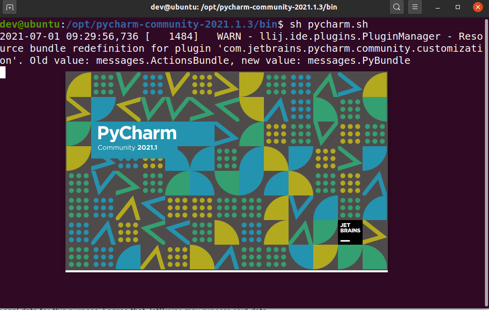Run Pycharm.sh script to launch PyCharm IDE in Ubuntu using terminal