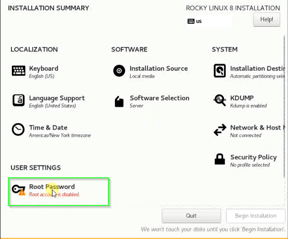 set up root password in Rocky Linux
