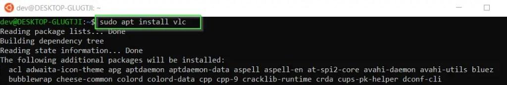 install VLC in WSL using sudo apt install VLC