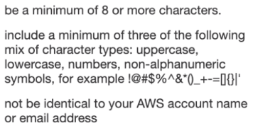 AWS account password requirements