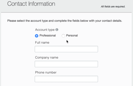 AWS contact info form