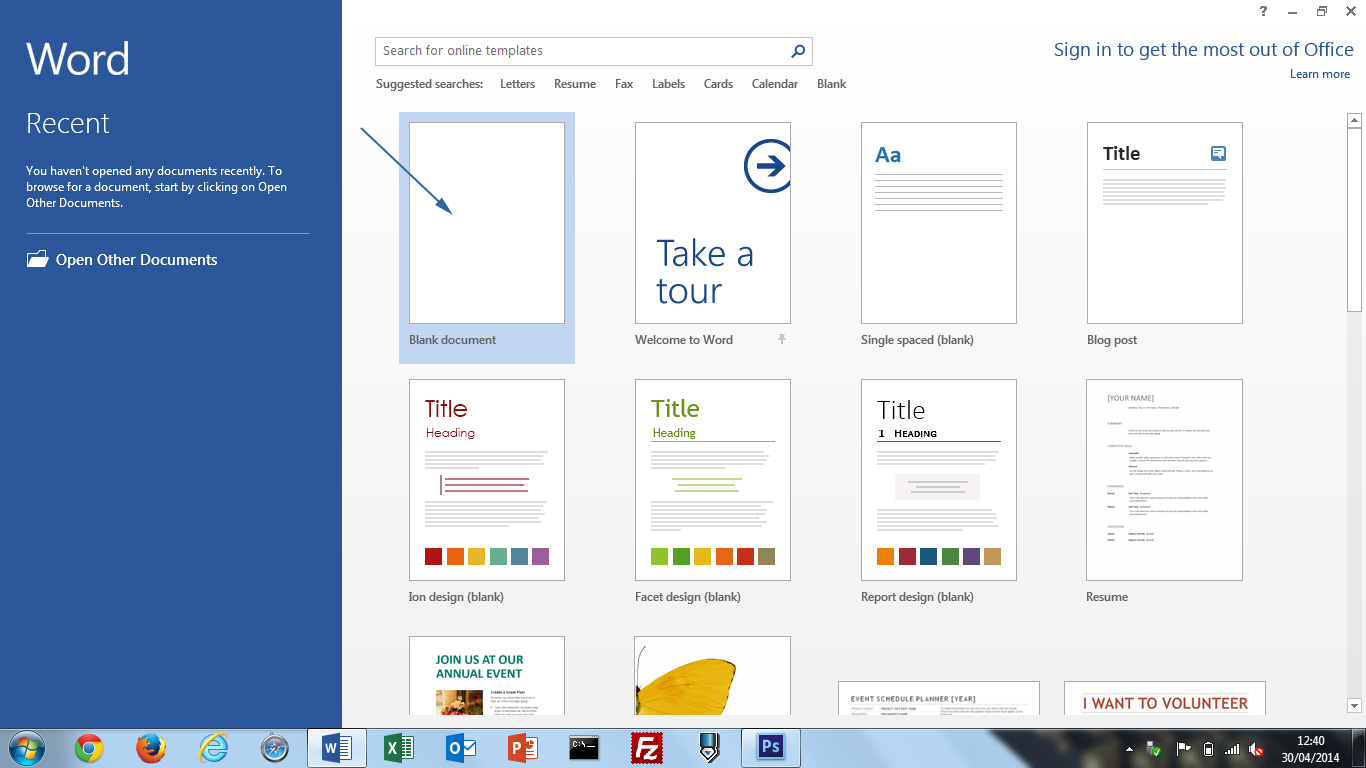 Image result for word 2013 new document