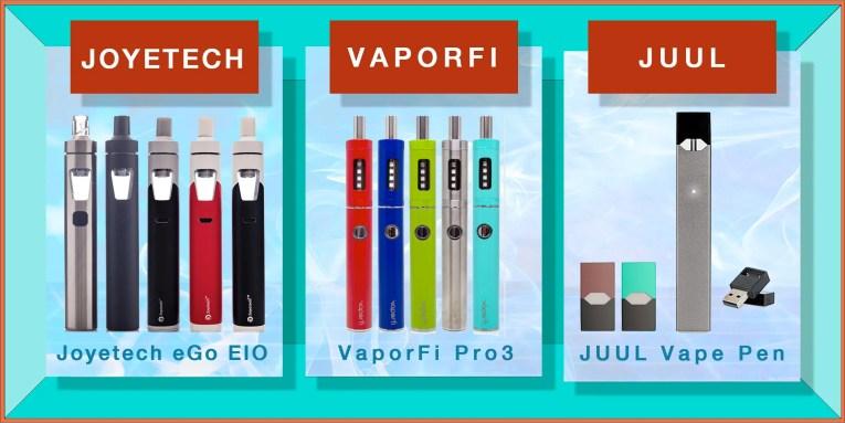 top three vape pens from joyetech, vaporfi, juul