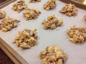 Nut Free Pie Crust Clusters on a baking sheet