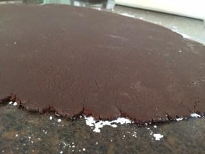Hamantaschen dough 1/8 inch thick