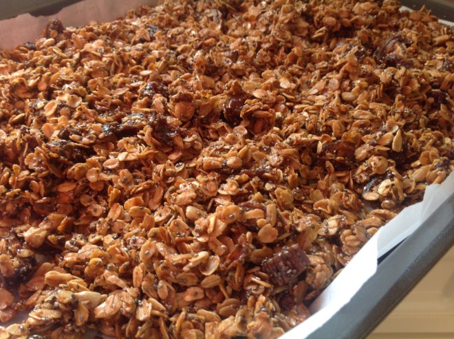 white chocolate granola after baking
