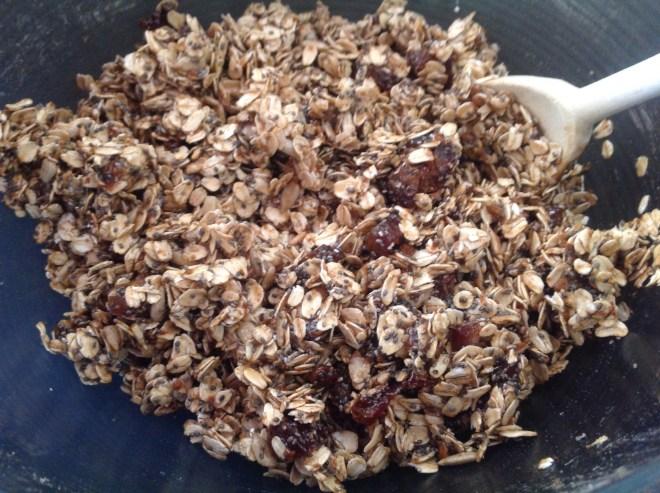 white chocolate granola mixed