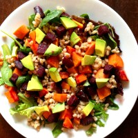 Sweet Potato, Beet, Avocado, and Farro Salad